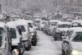 Multi-car Winter pileup accident in New Jersey.