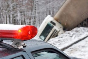 Truck accident that occurred during winter weather in New Jersey.