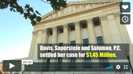 Image from a video describing a Davis Saperstein & Salomon, P.C. $1,450,000 settlement for a pedestrian struck by a vehicle.