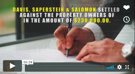 Image from a video describing a Davis Saperstein & Salomon, P.C. $230,000 settlement for a woman injured on stairs.